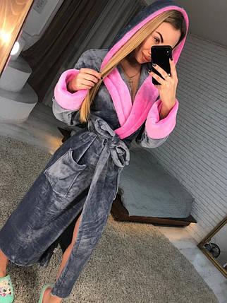 Серый длинный женский махровый халат, фото 2