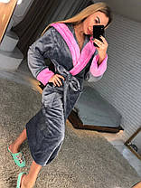 Серый длинный женский махровый халат, фото 3
