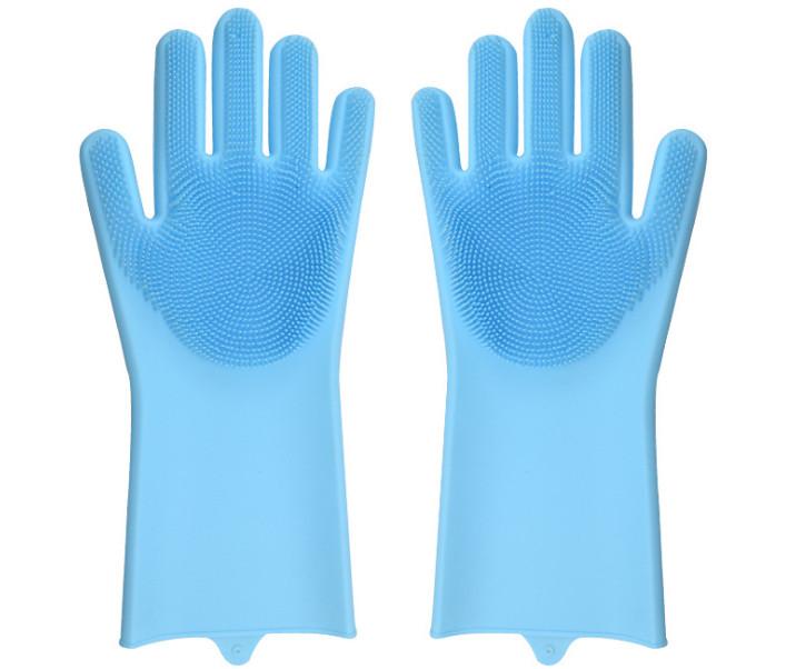 Силіконові рукавички для прибирання,миття посуду блакитні