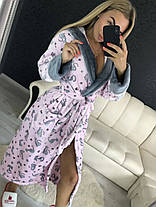 Женский теплый плюшевый домашний халат с котами, фото 2