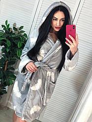 Дуже красивий і теплий жіночий халат махровий сірий