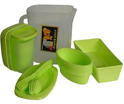 Пластиковий набір для пікніка на 6 персон MHZ R30214, 35 предметів в кейсі, зелений