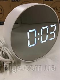 Часы электронные зеркальные настольные LED с подсветкой и термометром от USB или батареек