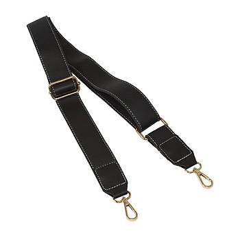 Ремень плечевой для сумки Черный, экокожа 81-133 см (ширина 40 мм)
