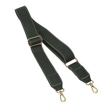 Ремень плечевой для сумки Темно-зеленый, экокожа 81-133 см (ширина 40 мм)