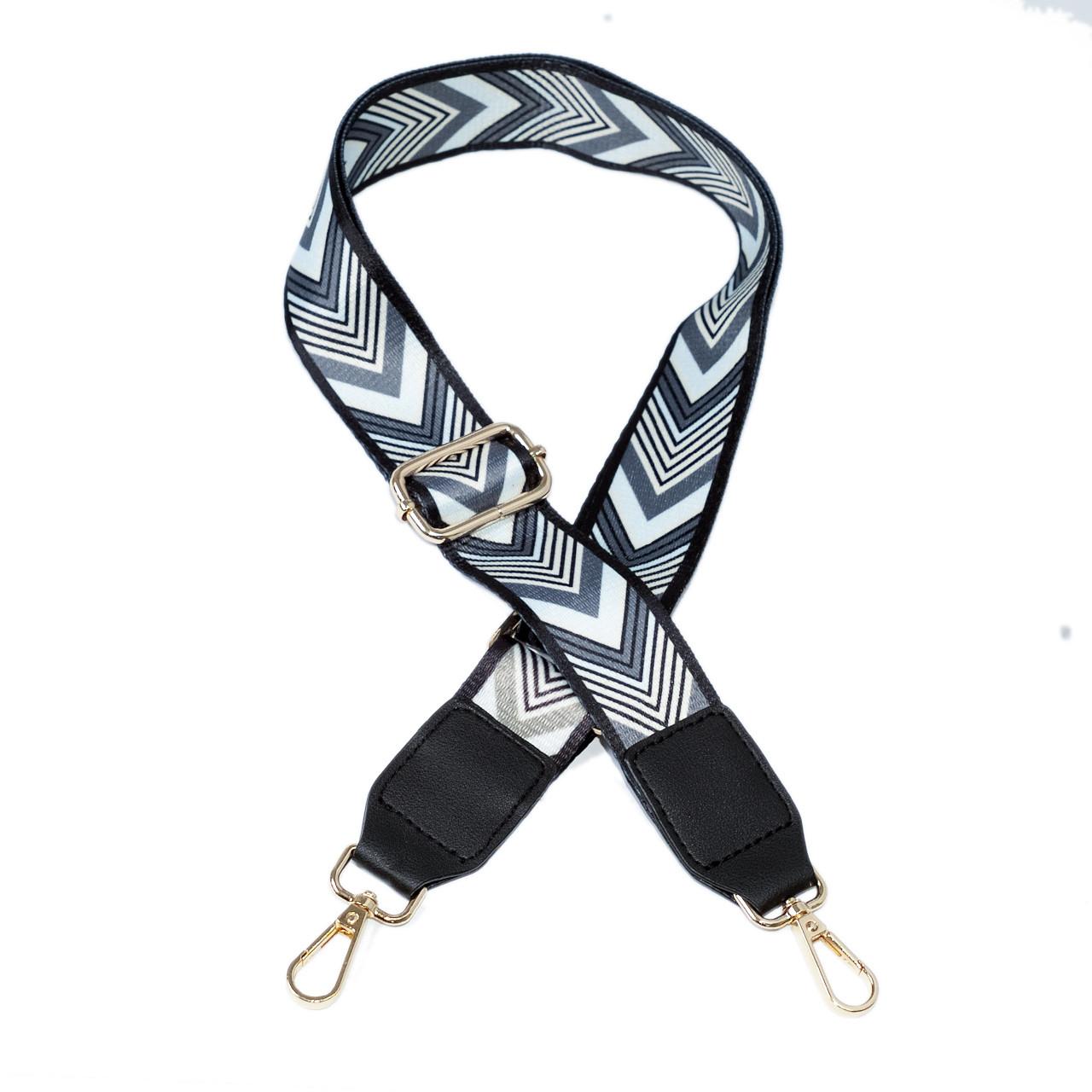 Ремень плечевой с орнаментом и карабинами + экокожа, для сумки 78-128 см (ширина 40 мм) №225