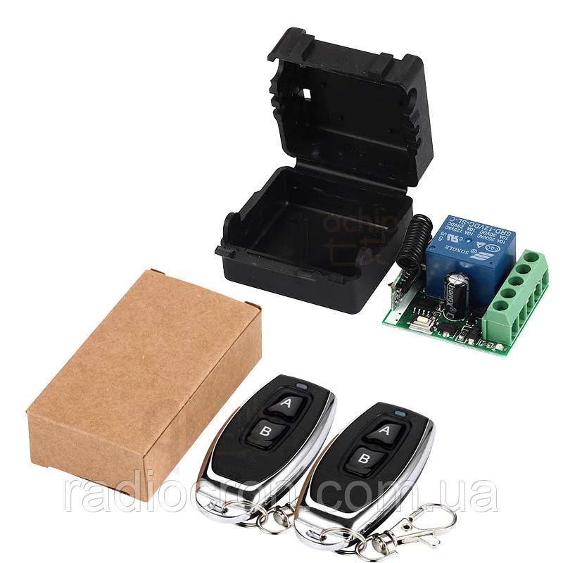 433МГц одноканальный беспроводной выключатель на 12В с таймером + Два пульта