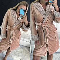 Женский теплый бежевый домашний халат с капюшоном длинный, фото 2