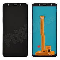 Дисплей для Samsung A750H/DS Galaxy A7 (2018) с тачскрином в сборе, цвет черный, OLED