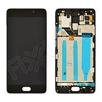 Дисплей для Meizu M6 Note с тачскрином и рамкой в сборе, цвет черный, оригинал