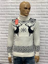 Стильний теплий новорічний чоловічий гольф з оленями