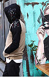 😜 Худі - Чоловіча худі на флісі бежева з чорним, фото 4