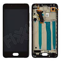 Дисплей для Meizu U10 с тачскрином и рамкой в сборе, цвет черный, копия высокого качества