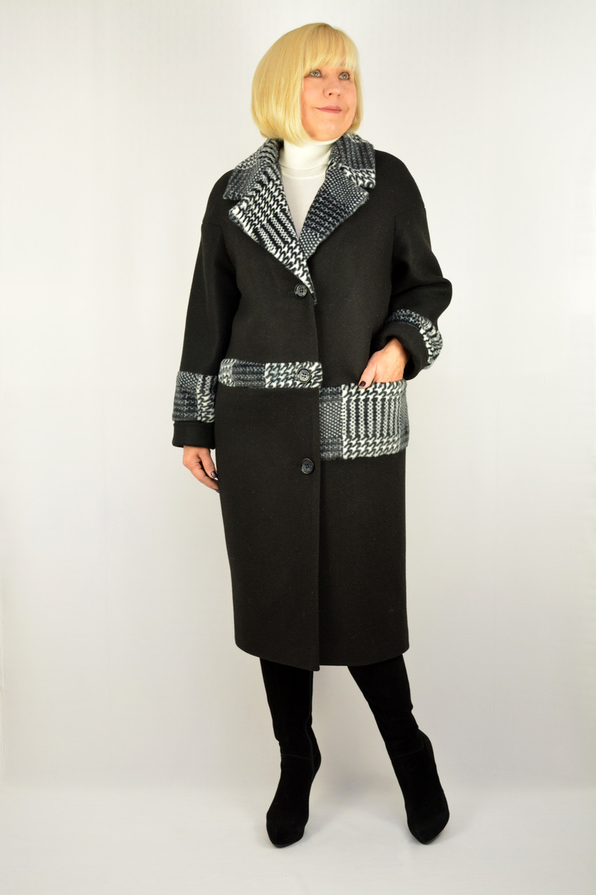 Пальто черное шерсть с карманами - Модель Нєнси