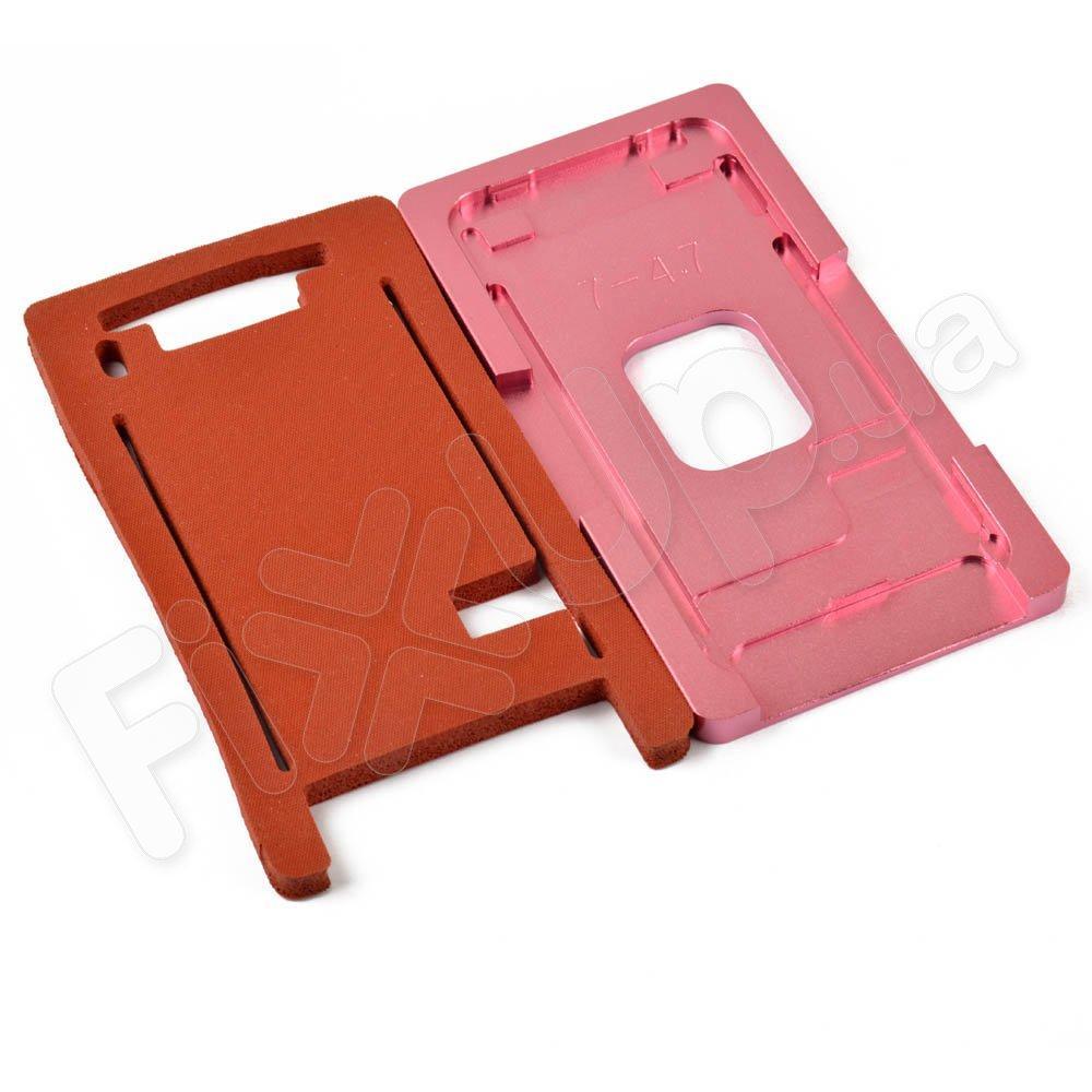 Форма металлическая с ковриком для склеивания модулей iPhone 7 (4.7), для стекла с рамкой