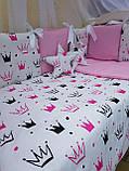 """Комплект """"Elite"""" в дитяче ліжечко, рожевий з коронами, фото 3"""