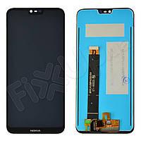 Дисплей для Nokia 6.1 Plus, X6 (2018) с тачскрином в сборе, цвет черный, оригинал