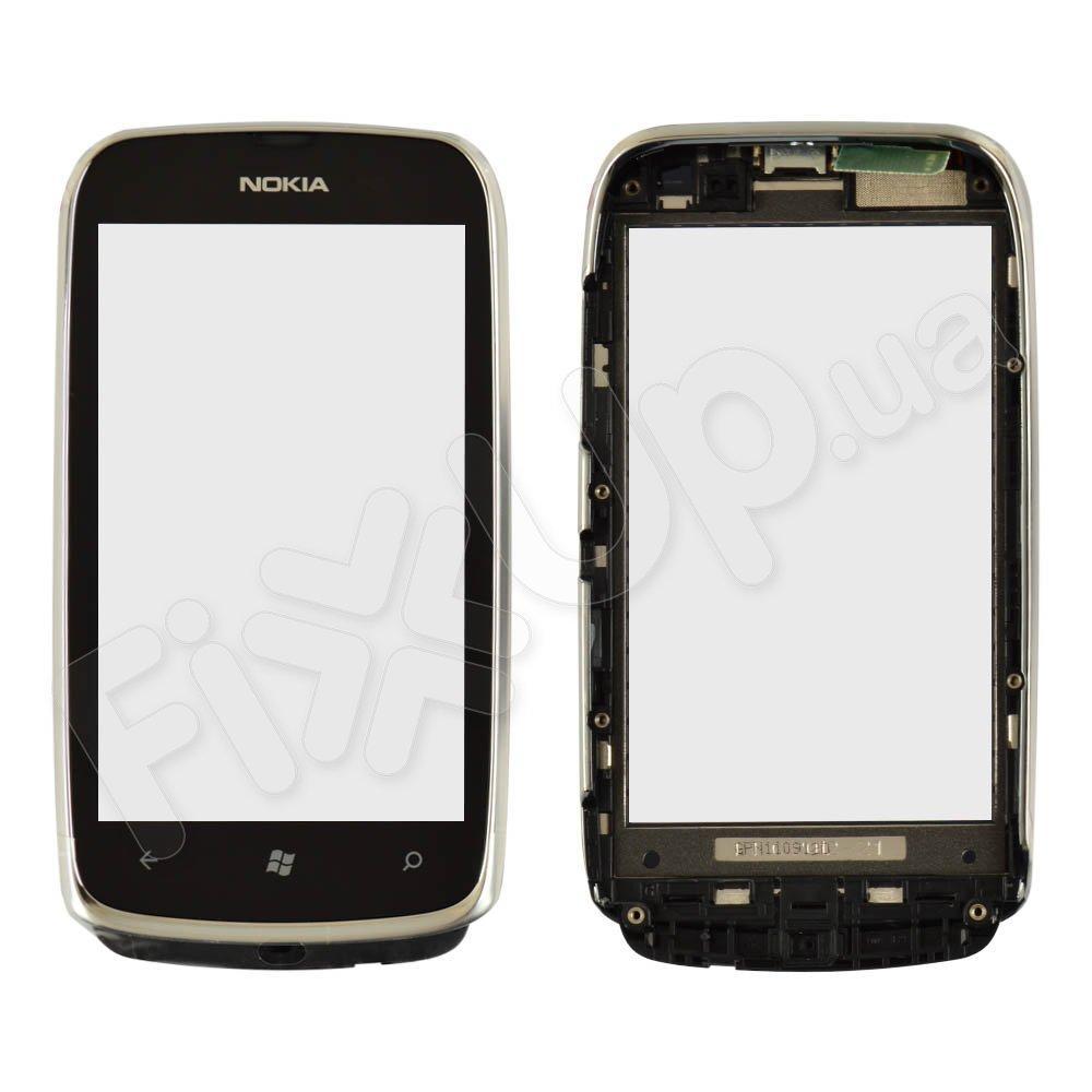 Тачскрин (сенсор) Nokia 610 Lumia, цвет серебро, с рамкой