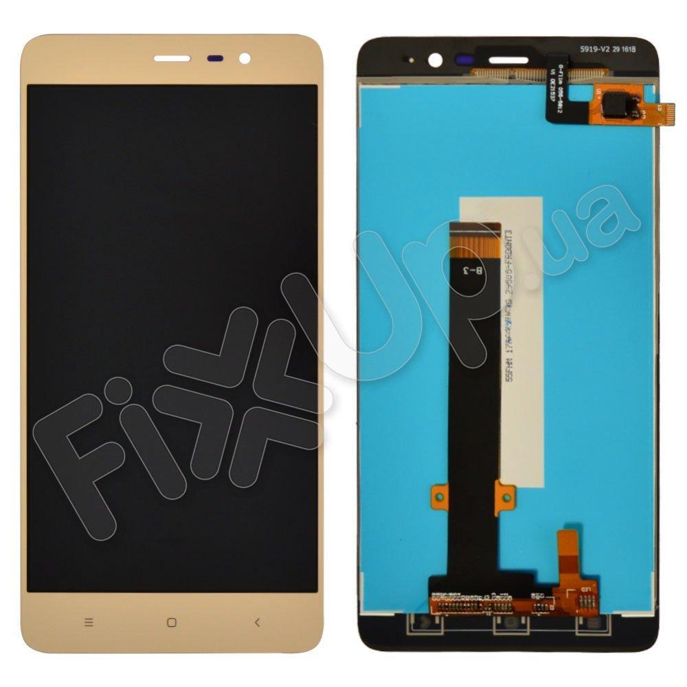 Дисплей Xiaomi Redmi Note 3 Pro SE с тачскрином в сборе (150мм), цвет золотой, копия высокого качества, уценка