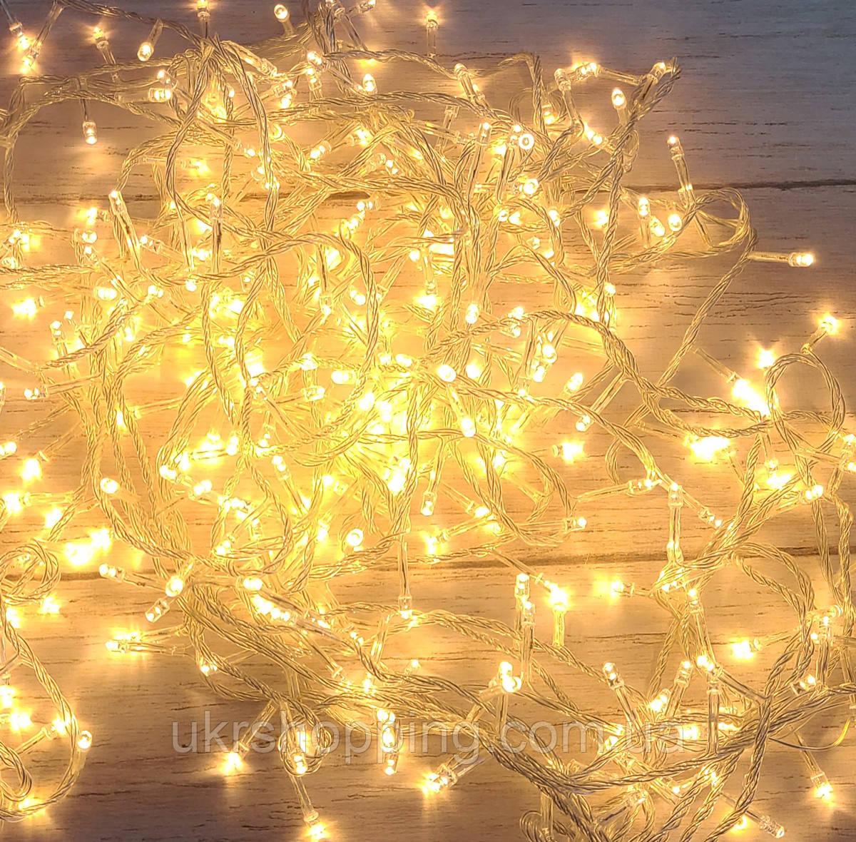 Новогодняя теплая белая лед гирлянда 16 м Xmas LED 400 WW-1, новорічна лед гірлянда на ялинку (SH)