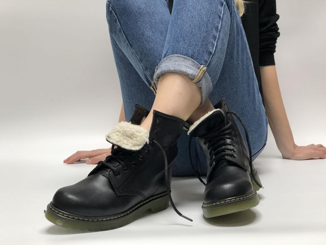 Ботинки женские зимние Dr. Martens Black (Мех) Реплика ААА