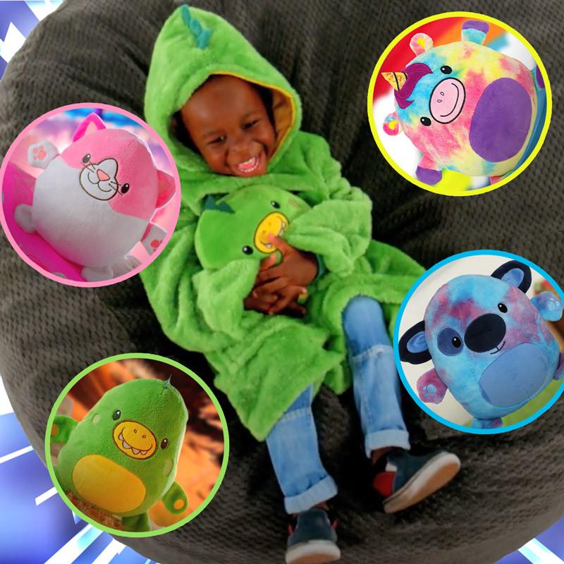 Детская толстовка плед худи с капюшоном и плюшевой игрушкой Huggle® Pet