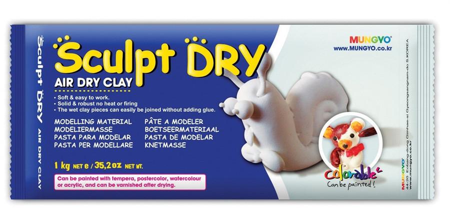 """Масса для моделирования, белая, самозастывающая, 1 кг., """"Sculpt Dry'', MUNGYO"""