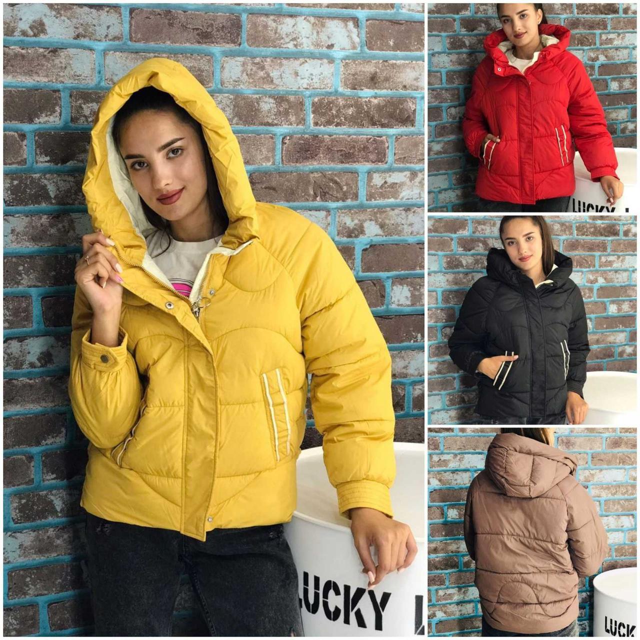 Куртка Турция женская зимняя из плащевки с холофайбером, разные цвета