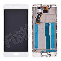 Дисплей для Meizu M5S, M5s mini с тачскрином и рамкой в сборе, цвет белый, оригинал