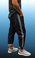 Мужские широкие джинсы-бананы с лампасами, тёмно-синие L/XL (любые размеры под заказ)