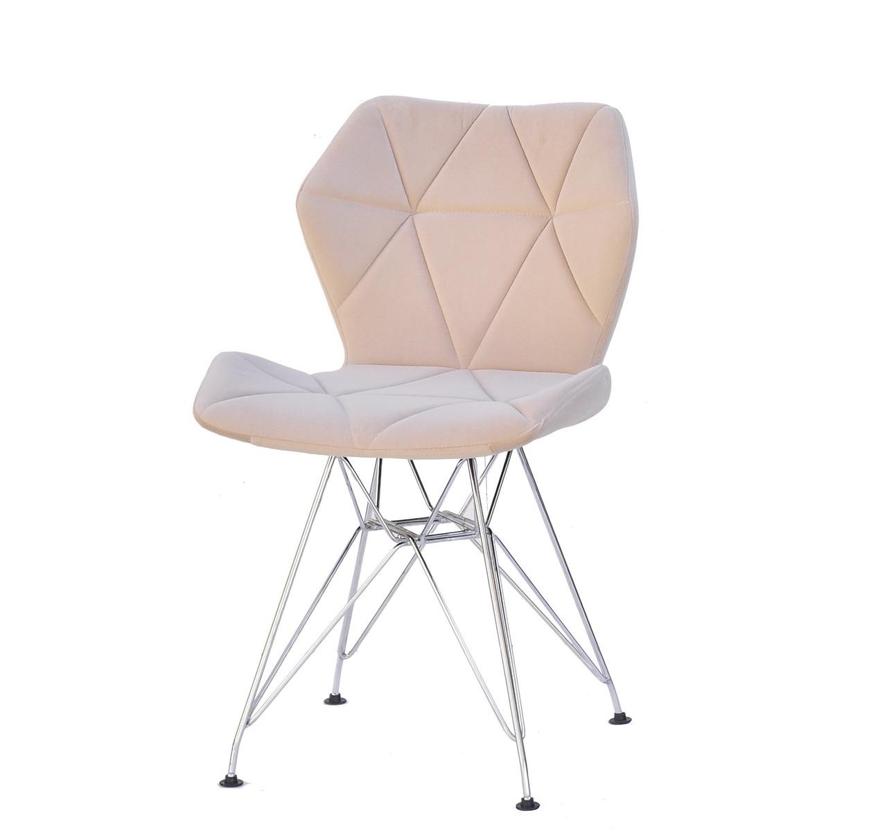 М'який, затишний оксамитовий бежевий стильний і сучасний стілець Greg CH-ML на металевих ніжках