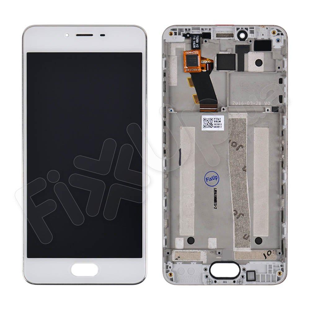 Дисплей для Meizu M3s, оригинал, с тачскрином и рамкой в сборе, цвет белый, Rev. Universal
