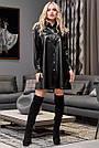 Чорне плаття сорочка з екошкіри коротка вільна з поясом, фото 2