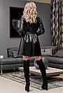 Чорне плаття сорочка з екошкіри коротка вільна з поясом, фото 6