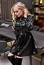 Чорне плаття сорочка з екошкіри коротка вільна з поясом, фото 4
