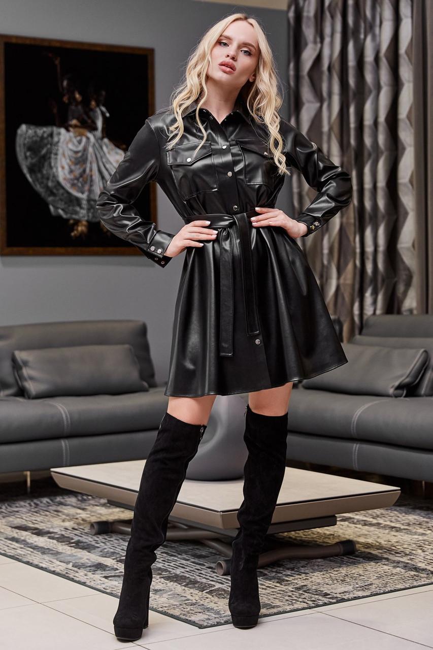 Чорне плаття сорочка з екошкіри коротка вільна з поясом