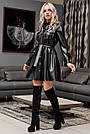 Чорне плаття сорочка з екошкіри коротка вільна з поясом, фото 3