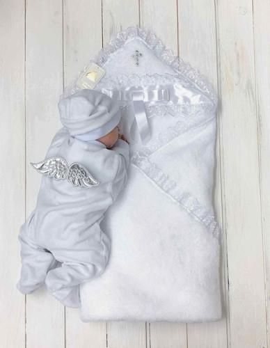 Набор для крещения Ангел серебро, крыжма и комбинезон с шапочкой