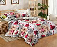 """Семейное постельное белье евро-размер с двумя пододеяльниками (13854) хлопок """"Ранфорс"""", фото 1"""