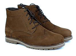 Ботинки коричневые нубук зимняя мужская обувь New Brogue Brown Nub Rosso Avangard