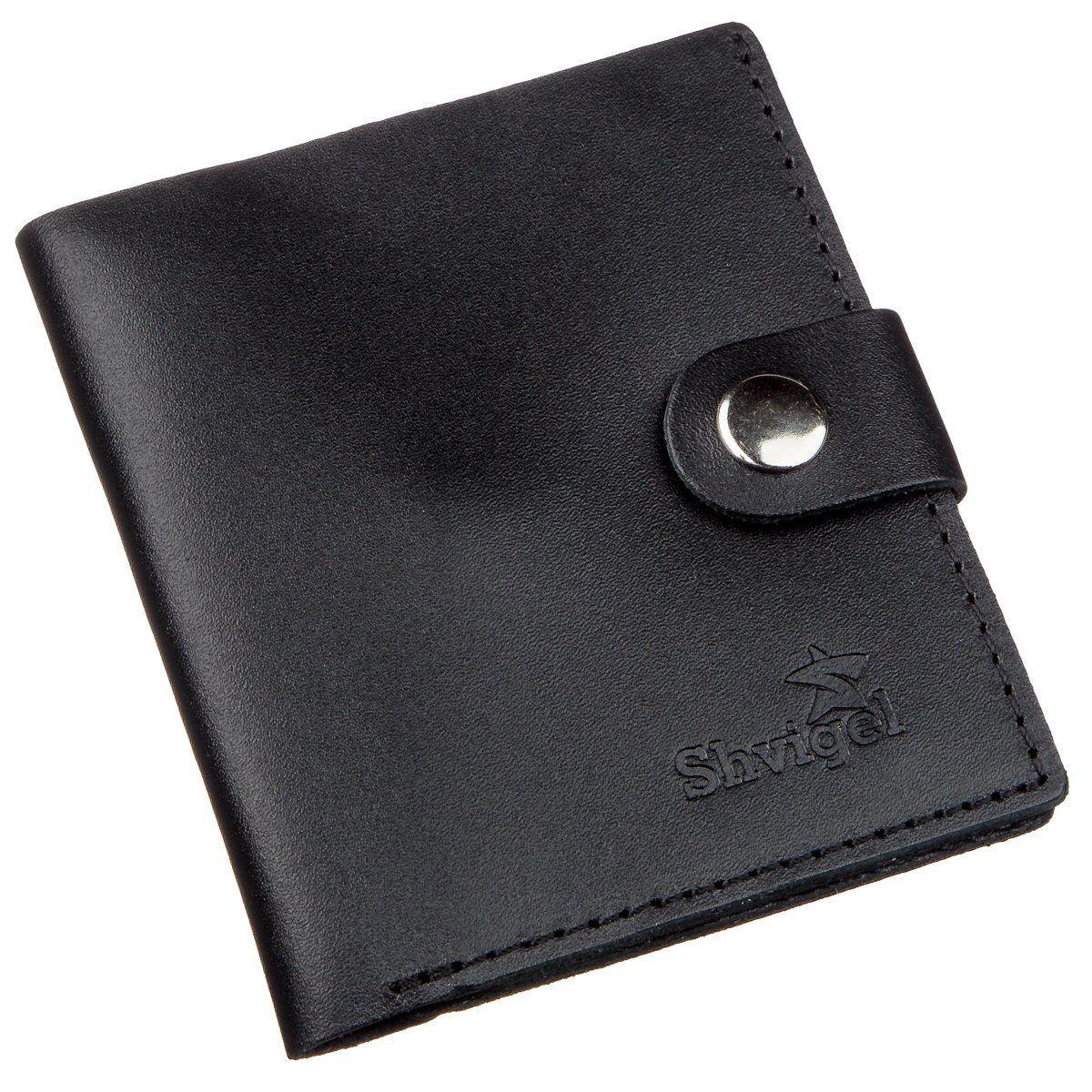 Портмоне вертикальное мужское кожаное с монетницей SHVIGEL 16221 Черное