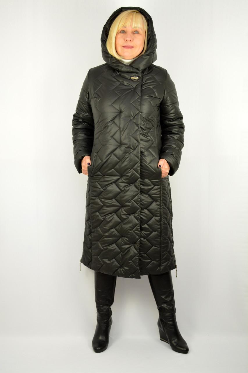 Пальто черное стеганное с капюшоном - Модель Адель