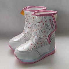 Детские зимние дутики теплые на зиму сноубутсы для девочки Tоm.m белые 30р 18.5см
