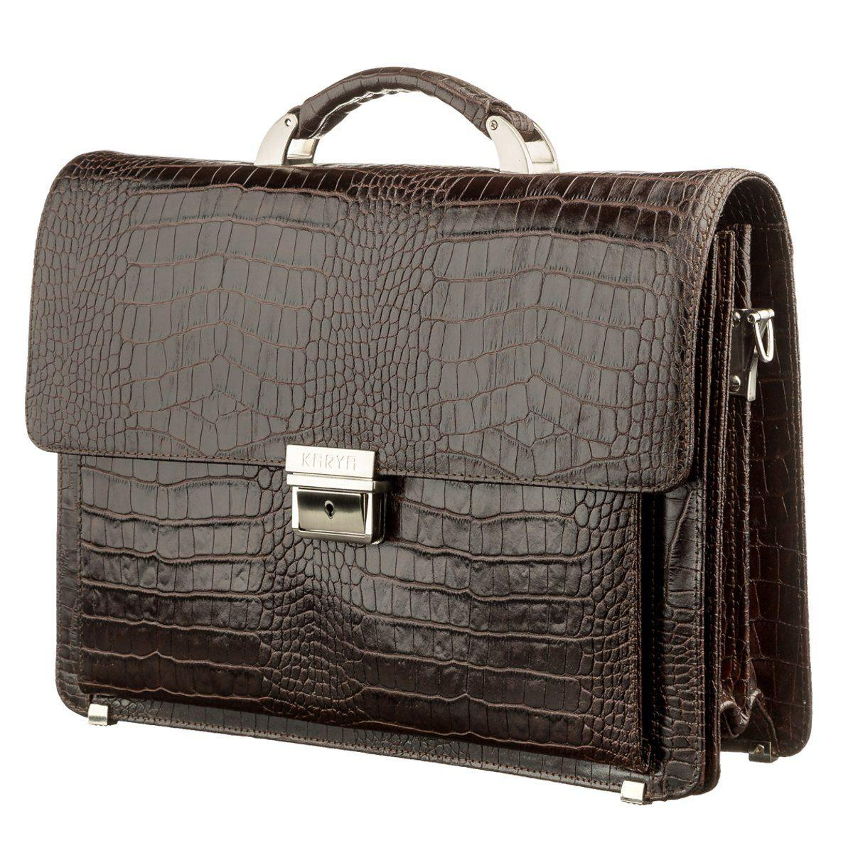 Портфель мужской KARYA 17270 кожаный Коричневый с тиснением под крокодила