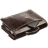 Портфель мужской KARYA 17270 кожаный Коричневый с тиснением под крокодила, фото 5