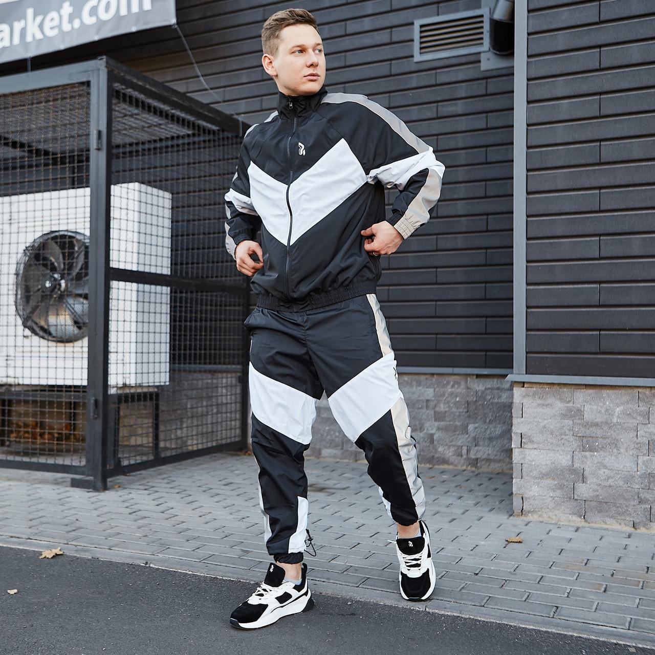 Спортивний костюм чоловічий Гармата Вогонь Split чорно-білий з рефлективом
