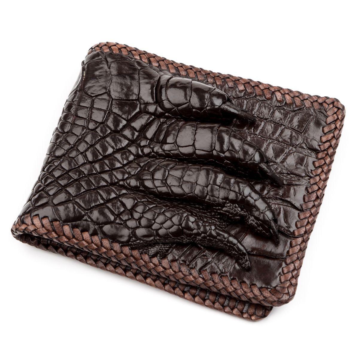 Портмоне CROCODILE LEATHER 18229 из натуральной кожи крокодила Коричневый