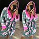 Женский махровый халат ниже колена Турция в цветочек, фото 3