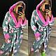 Женский махровый халат ниже колена Турция в цветочек, фото 10