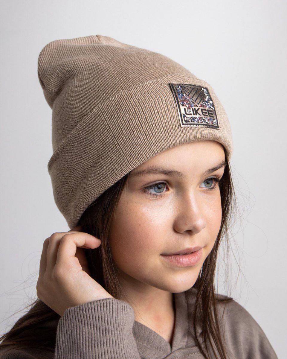 Стильна зимова шапка з відворотом для дівчинки - Артикул 2708